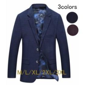 スリム ストレッチ2つボタン メンズ お兄系 jacket 春ジャケット 細身 チェック柄 メンズジャケット 紳士 テーラードジ