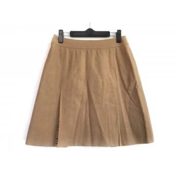 【中古】 バーバリーゴルフ スカート サイズ11 M レディース ライトブラウン 黒 レッド チェック柄