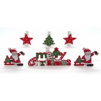 ウッドクリスマスクリップ 6本セットサンタツリー 【クリスマス雑貨/クリスマス小物入れ】