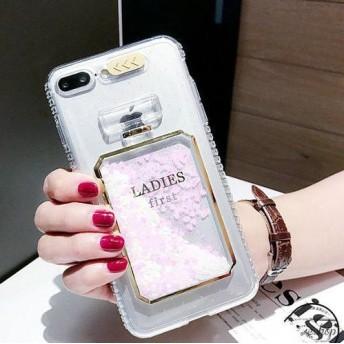 送料無料★香水瓶の中でラメが流れるiPhoneケース♪フラッシュすると全体が光る★ネックストラップもかわいい (白ハート iPhone7