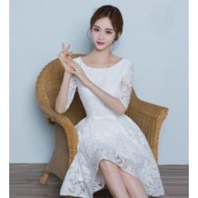 ブライズメイドドレス 韓国 ドレス 結婚式 お呼ばれドレス パーティードレス Xライン 結婚式 二次会 同窓会 袖あり 五分袖 ドレス 大きい