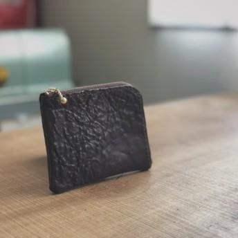 シュリンクレザーL字ファスナー財布(ポケット無しダークブラウン)