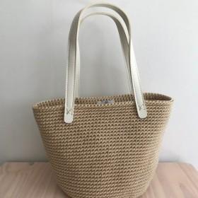 手編みバッグ 丸形トート ベージュ 合皮 かご