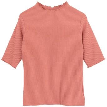 ユアーズ ur's フリルハイネックリブニットプルオーバー (ピンク)