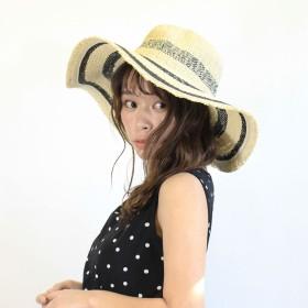 麦わら・ストローハット・カンカン帽 - CELL ボーダーツバ広ペーパーハット HAT 帽子 麦藁帽 エレガント 大人女子 旅行 UV対策