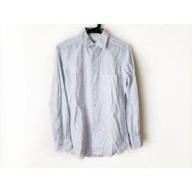 【中古】 ポールスミス 長袖シャツ サイズS メンズ 白 ライトブルー ダークネイビー ストライプ