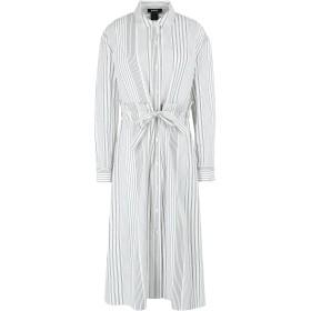 《9/20まで! 限定セール開催中》DKNY レディース 7分丈ワンピース・ドレス アイボリー S コットン 100% L/S BTN THRU STRIPE DRESS W/ TIE FRONT
