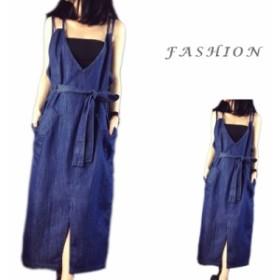 送料無料  つりスカート ワンピース レディース  女の子 デニム ドレス  カジュアル  韓国風  可愛い 旅行  おしゃれ