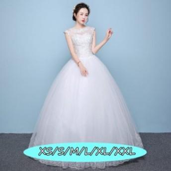 ノースリーブ ウェディングドレス レースドレス 著痩せ 高級刺繍 編み上げ式 上品レディース 結婚式ワンピース ホワイト色