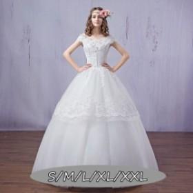 ウェディングドレス 體型カバー マキシドレス ハイウエスト 結婚式ワンピース ドレス 花嫁 Aラインワンピース Vネック