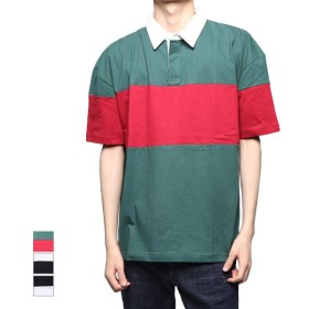 ポロシャツ - Style Block MEN ラガーシャツ ポロシャツ 半袖 バイカラー ビッグシルエット オーバーサイズ プルオーバー トップス メンズ ブラック グリーンホワイト 夏先行