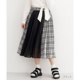 【30%OFF】 メルロー チェック柄異素材切替プリーツスカート レディース ブラック FREE 【merlot】 【セール開催中】