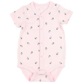 新生児 ロンパース 快適温度を保つ前開き 半袖 ピンク インナー・パジャマ 新生児・乳児(50~80cm) ロンパース(60cm~) (110)