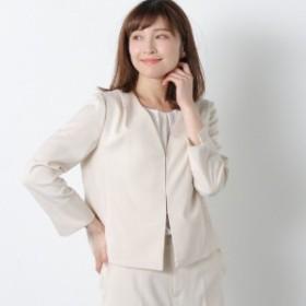 【セットアップ可】洗えるリネンブレンドストレッチカラーレスジャケット