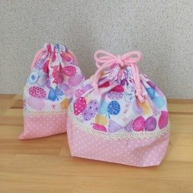 コップ&お弁当袋セット☆ちょうちょリボン×ドット(ピンク)