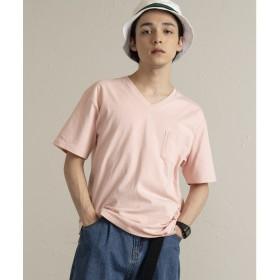 WEGO WEGO/USAコットンVネックポケットTシャツ(ライトピンク)【返品不可商品】