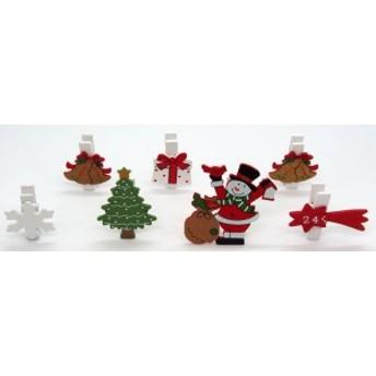 ウッドクリスマスクリップ 7本セット スノーマンツリー【クリスマス雑貨/クリスマス小物入れ】