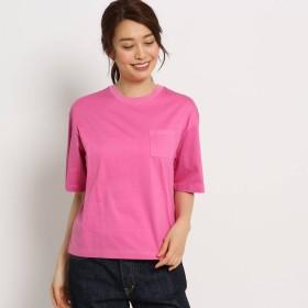デッサン Dessin 【洗える】製品染めスムースコットンゆるTシャツ (ラズベリーピンク)