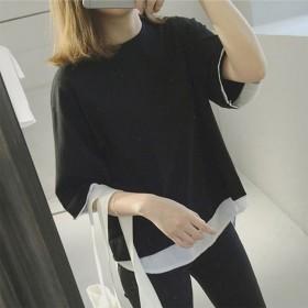 アムールボックス AMOUR BOX Tシャツ カットソー フェイクレイヤード 重ね着風シンプルゆったりカットソー (ブラック)