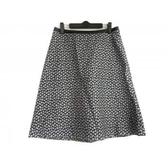 【中古】 モラビト MORABITO スカート サイズ40 M レディース 美品 ネイビー アイボリー シルバー ラメ