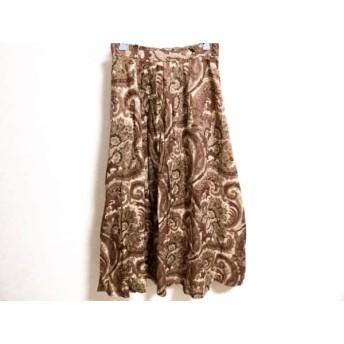【中古】 スキャパ ロングスカート サイズ38 L レディース ベージュ ボルドー マルチ ペイズリー柄