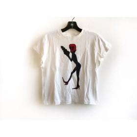 【中古】 アニエスベー agnes b 半袖Tシャツ サイズ3 L レディース アイボリー 黒 レッド