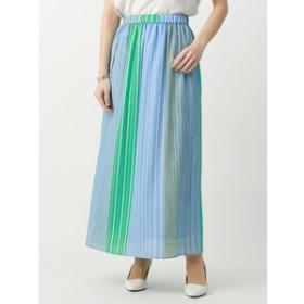 【UNIVERSAL LANGUAGE:スカート】【ハンドウォッシュ】マルチストライプ ロングスカート