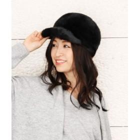 サンキョウショウカイ ミンク ファー キャスケット 帽子 レディース ブラック フリー 【sankyoshokai】