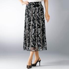 ベルーナ 軽やかネットプリントスカート 後総丈78cm デニム調 LL レディース
