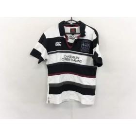 【中古】 カンタベリーオブニュージーランド 半袖ポロシャツ サイズM メンズ 白 黒 ボルドー ボーダー