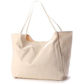 ヴィータフェリーチェ VitaFelice ビッグキャンバストートバッグ A4 収納力 通勤通学 デイリーバッグ 旅行用バッグ トートバッグ (IVORY)