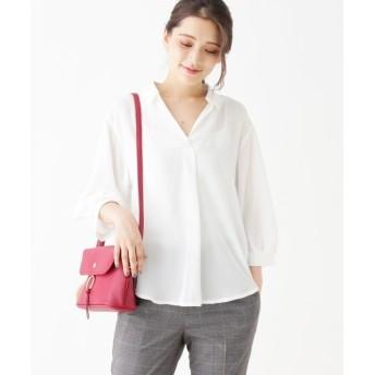 Tシャツ - grove 【洗える】スキッパーカットシャツ