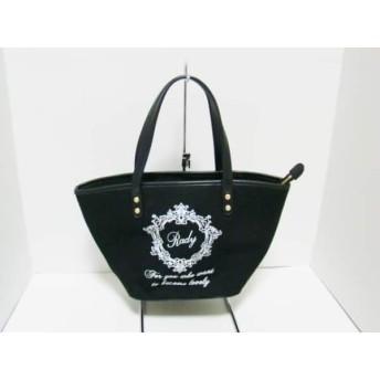 【中古】 レディ Rady ハンドバッグ 美品 黒 キャンバス 合皮
