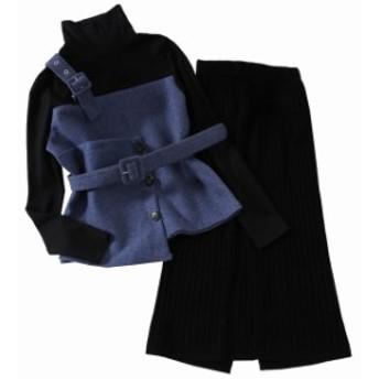 ツーピース オルチャンファッション コーデ オルチャン 通勤 韓國 デザイン リブ素材 ニット 冬新作 ウエストゴム デート