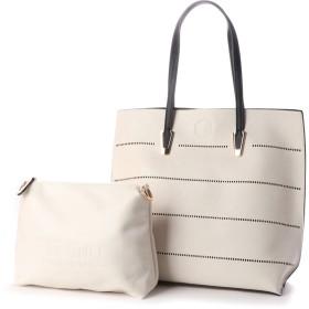 フィラノ FIRANO 【andGIRL掲載】パンチングボーダートートバッグ(Bag in Bag付) (IVORY)