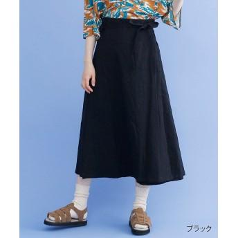 メルロー ドットライン刺繍ラップスカート レディース ブラック FREE 【merlot】