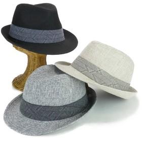 ハット - Smart Hat Factry <春夏新作>チェック帯フェイクリネン中折 ヤング 帽子