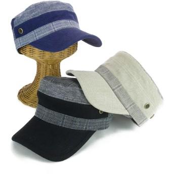 キャップ - Smart Hat Factry <春夏新作>チェックリネン切替レイルワークキャップ ヤング 帽子