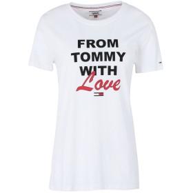 《期間限定 セール開催中》TOMMY JEANS レディース T シャツ ホワイト S コットン 100% TJW TOMMY WITH LOVE