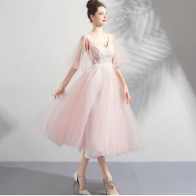 結婚式二次會に最高 食事會 上品 クオリティー チュールスカート お呼ばれドレス お呼ばれドレス ミモレ丈 ワンピース