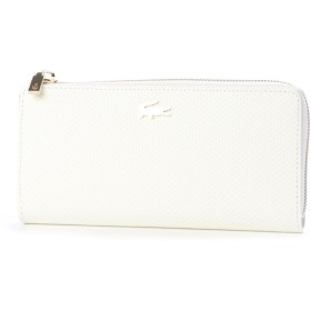 ラコステ LACOSTE CHANTACO ピケレザー カード8枚収納 財布 (ホワイト)