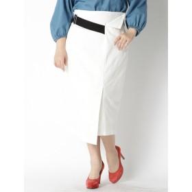 【大きいサイズレディース】【3-4L】【日本製】ベルト風のデザインがアクセントのスカート(ストレッチ素材) スカート 膝丈スカート
