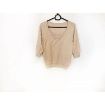 【中古】 グレースコンチネンタル 七分袖セーター サイズ36 S レディース ベージュ ラインストーン