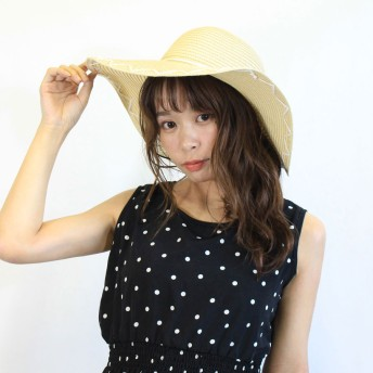 麦わら・ストローハット・カンカン帽 - CELL タッセルリボン付きストローハット 帽子 HAT ツバ広帽子 旅行 トラベル 大人女子 麦わら帽子 海 ビーチ UV対策