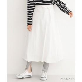 merlot メルロー ドットライン刺繍ラップスカート