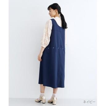メルロー バックボタンデザインジャンパースカート レディース ネイビー FREE 【merlot】
