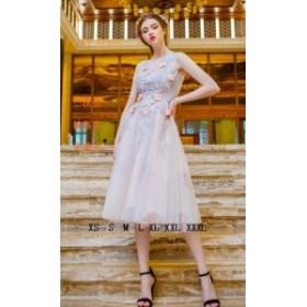 ミモレ丈ドレス ナイトドレス 大人の魅力 大きいサイズにも対応 丸襟 花柄 発表會 パーティードレス 可愛い系 20代30代40