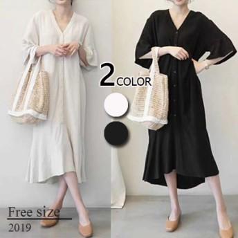 ◆春夏人気新品◆2019韓国ファッション 綿の麻ワンピース 春のシャツワンピース ボディラインがキレイに見える美シルエットフレアワンピース