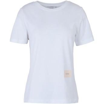 《期間限定セール開催中!》CALVIN KLEIN レディース T シャツ ホワイト XS コットン 100% SMALL LOGO PATCH TEE