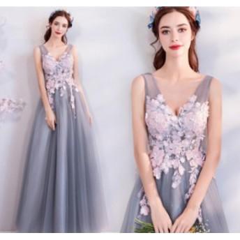 パーティードレス ノースリーブ 體型カバー 結婚式 ワンピース 発表會 女子會 aライン ファッション 二次會 レディース Vネ